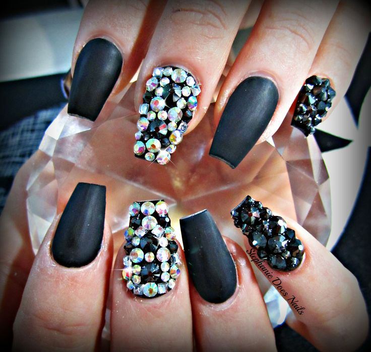Matte Black Coffin Acrylic Nails With Swarovski Crystals