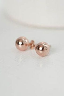 Rose Gold Earrings Rose Gold Ball Studs Wedding