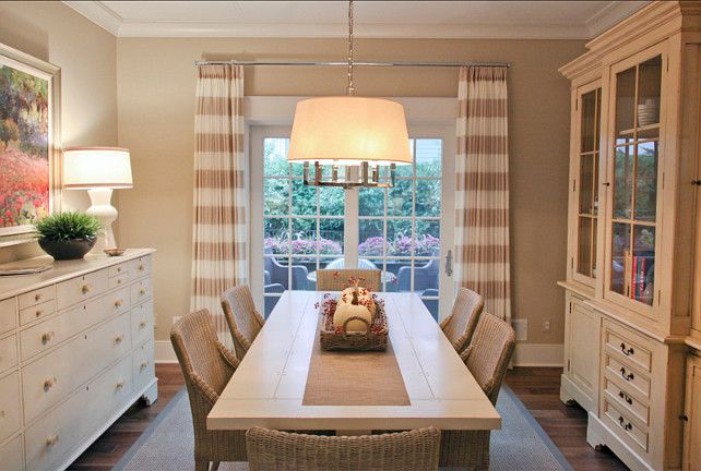 "Casual Dining Room. The curtains are custom. The fabric is from ""Clarke and Clarke"". Chandelier is the ""Six Light Square Tube Chandelier by Sandy Chapman"". Dining Room. Dining Room Decor"
