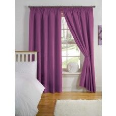 66x54in (168x137cm) Aubergine Purple Thermal Curtains 3� Tape