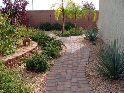 Backyard Desert Landscape: Gardens Paths, Desert Landscape Backyard, Side Yard, Backyard Ideas Bloom Wher, Front Yard, Brick Pathways, Brick Walkways, Desert Backyard Landscape, Desert Landscaping