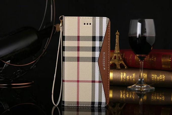 Burberry Samsung Galxy S6 Edge Covers Wallet Brown Sleeve Coque Fundas Capa Para
