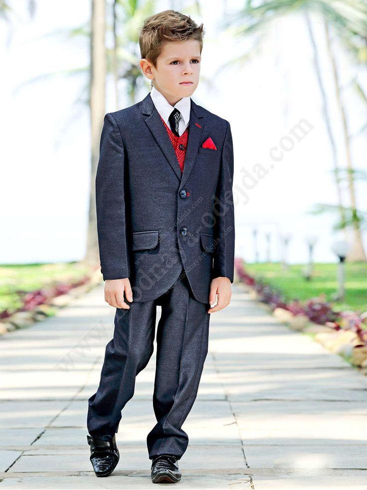 Тёмно-серо-синий костюм-тройка (с жилетом)   белая рубашка   галстук с брошью для мальчика от 2 до 16 лет
