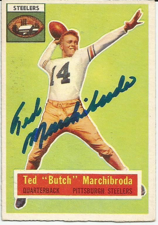 TED MARCHIBRODA SIGNED 1956 TOPPS