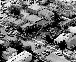 Aerial view after the 1974 gun fight with the Symbionese Liberation Army.