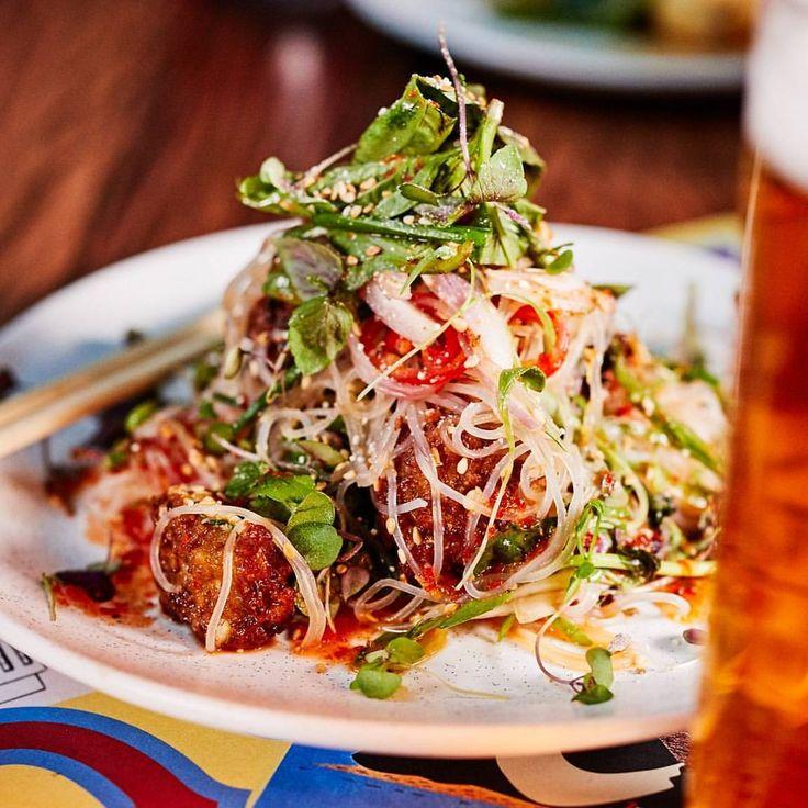 Fried dumpling for you and you and you. Salad of Shisho + Sesame Prawn Dumplings, Red Nahm Jim + Glass Noodles. #chinchinmelb