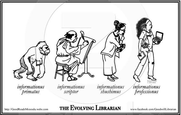 Evolving librarian | Just for Fun | Pinterest | Library humor, Librarian humor and Books