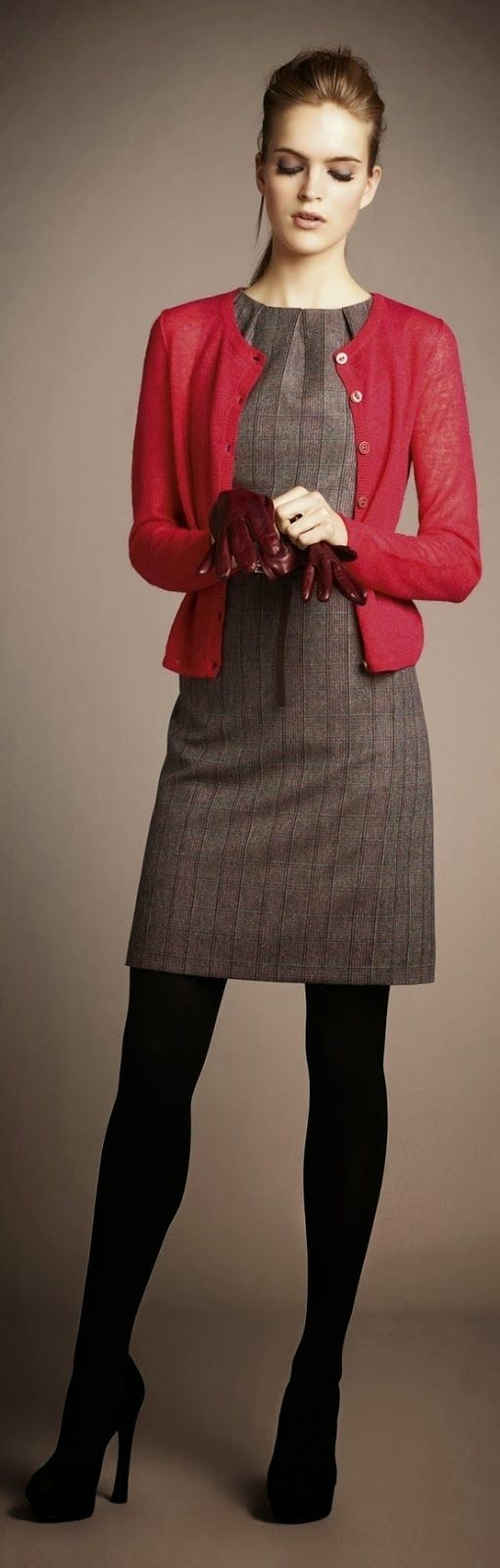 Fall outfit with red cardigan and long booties