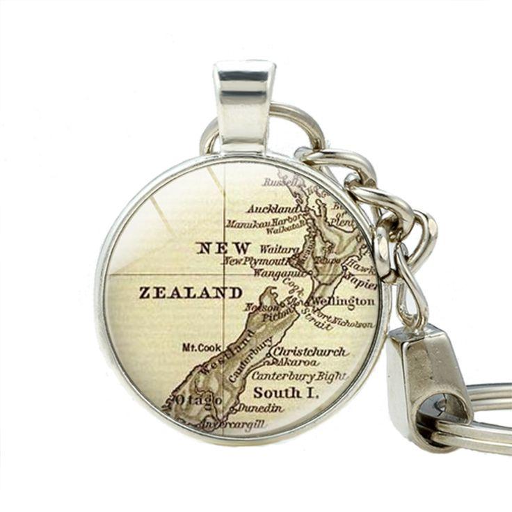 New Zealand Map Glass Photo Keychains New Zealand Map Key Holder Stainless Steel jewelry Key Chain Handmade Glass Photo Jewelry