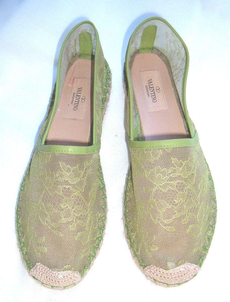 VALENTINO GARAVANI Escala Green Sheer Lace Espadrilles Flats Shoes 38 ITALY  #valentino #Espadrilles #Casual