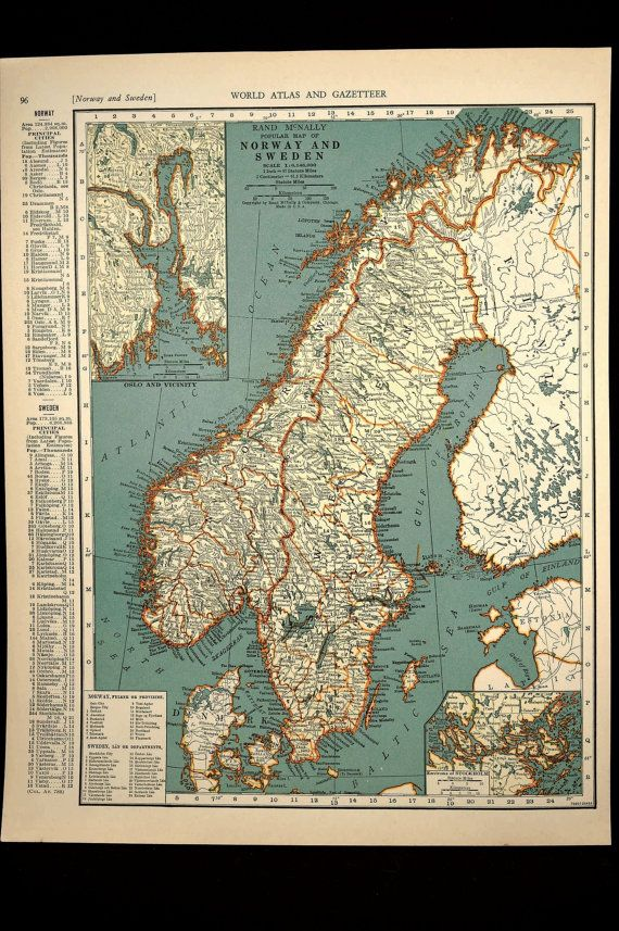 Sweden Map Sweden Norway Map Norway Vintage S Original Maps - Map 0f sweden