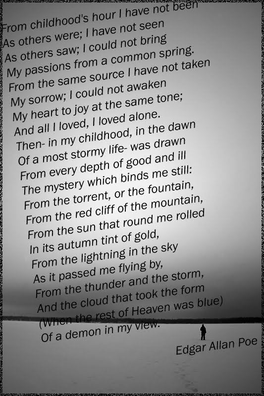 poetry analysis alone by edgar allan poe The meaning of this poem is lonileness poe felt alone all his life and he was an introvert, who no one understood, even his own wife  alone analysis edgar allan.