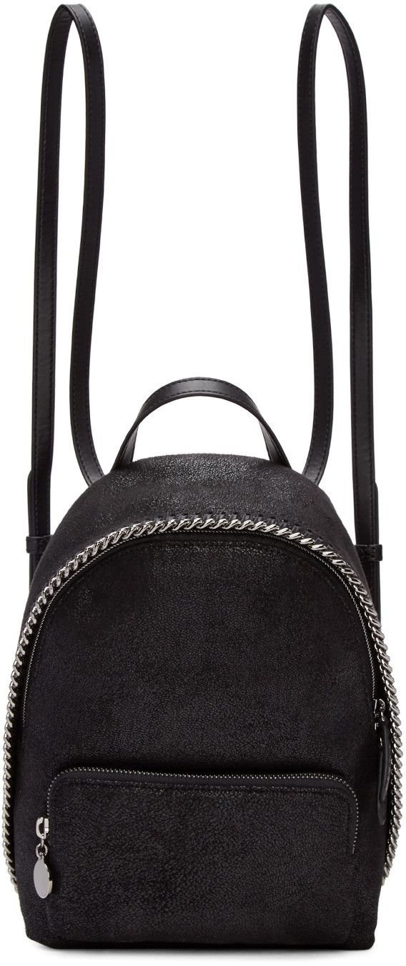 STELLA MCCARTNEY Black Mini Falabella Backpack. #stellamccartney #bags #lining #backpacks #suede #