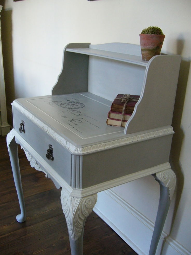 Gorgeous gray and white desk - great idea for small cubby hole computer desk