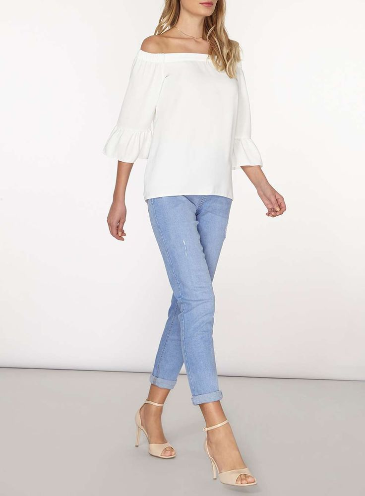 Womens White Frill Bardot Top- White
