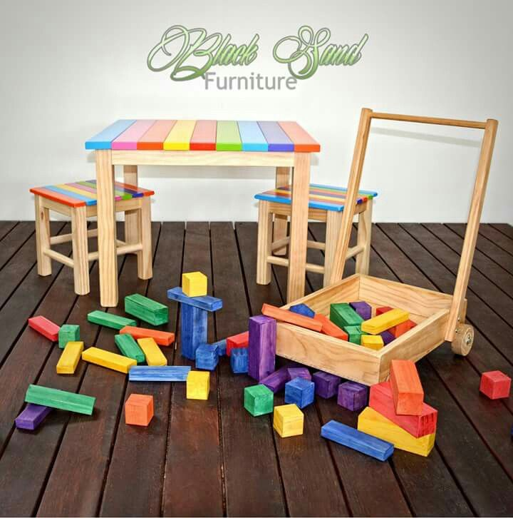 Wooden block set and trolley #handmade #wooden #kidstoys