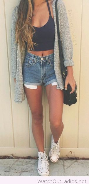 Black crop top, high waisted denim shorts, long grey cardigan and white converse