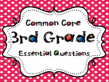 Third Grade Essential Questions for the Common Core Standards---145 cards for math, reading, writing, and language arts            $10