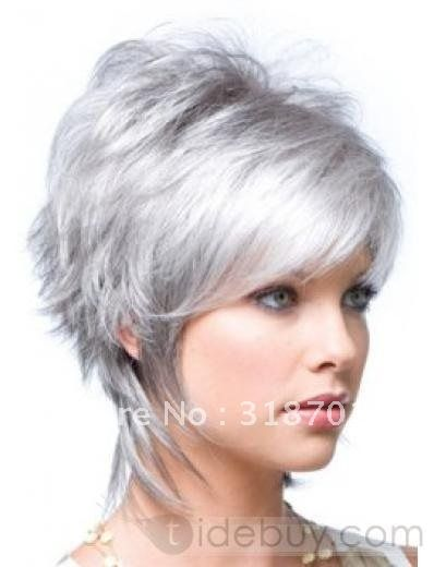 Free Shippingnew Stylish short silver grey hair women's wig d011-in Synthetic Wigs from Beauty  Health on Aliexpress.com