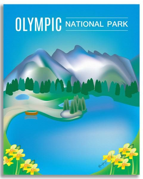 Olympic National Park wall art is available in an array of finishes, materials, and sizes, this retro inspired wall art will make Olympic National Park feel close to your heart with its bright color p