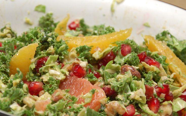 Vintersalat med grønkål og rosenkål