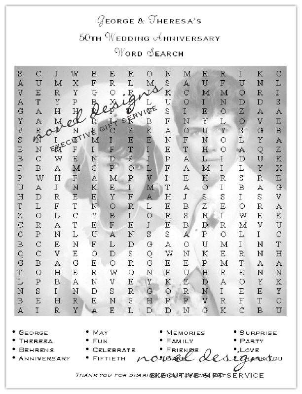 50th Anniversary Word Search Placemat (Front).  Could use this for weddings and birthdays too.