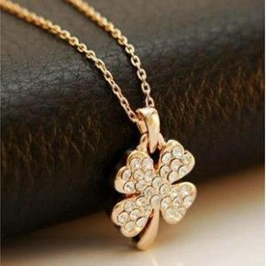 Lucky 4 Leaves Clover Crystal Pendant Golden Plated Necklace