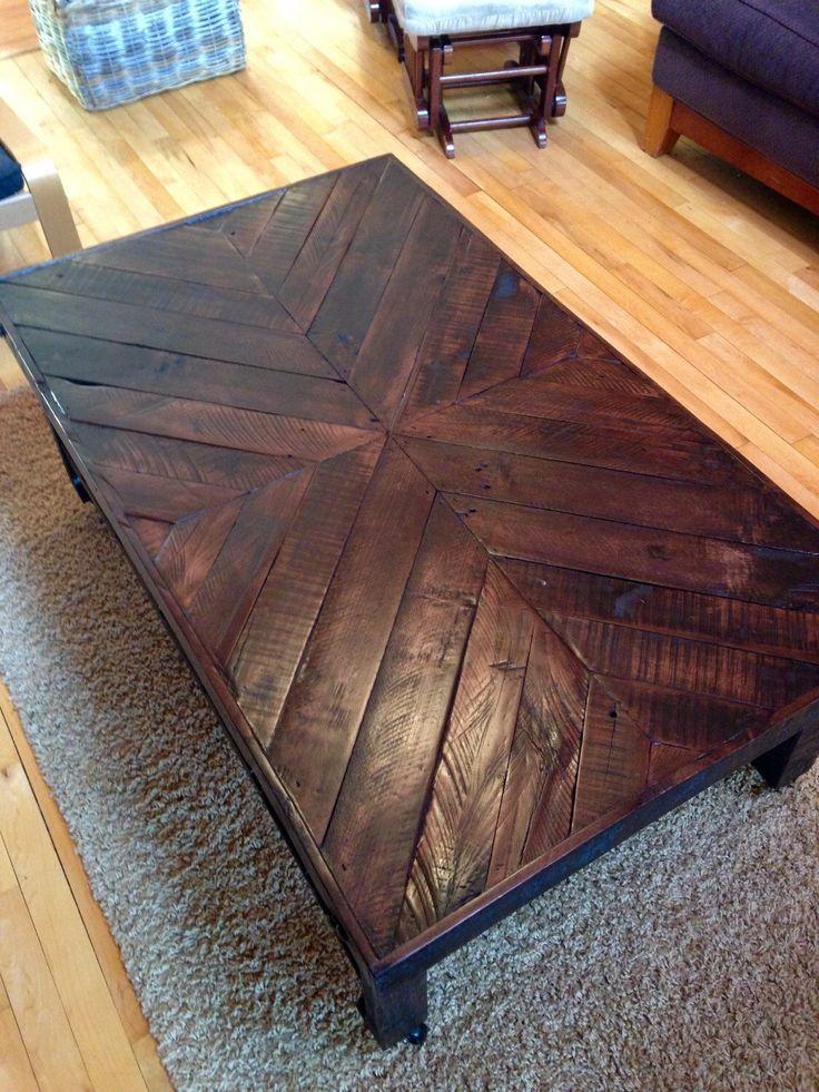 Pallet coffee table,reclaimed wood coffee table,rustic coffee table,end table,pallet furniture,furniture,chevron,rustic decor,table,shelf by HighCountryReclaimer on Etsy https://www.etsy.com/listing/204880892/pallet-coffee-tablereclaimed-wood-coffee