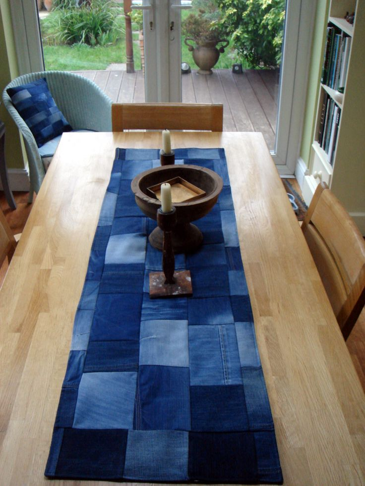 A table runner denim patchwork panel