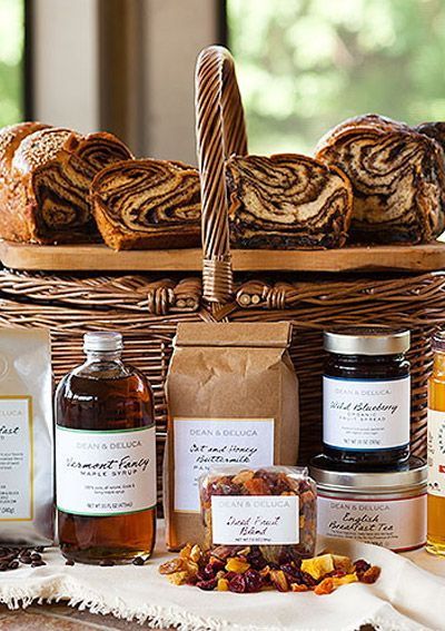 HAMPTON'S BRUNCH GOURMET GIFT BASKET Bring brunch to the foodie in your life with this basket of assorted goods, including oat and honey buttermilk pancake mix, chocolate and cinnamon babka bread, wildflower honey, and more.  Dean & Deluca, $195; deananddeluca.com.