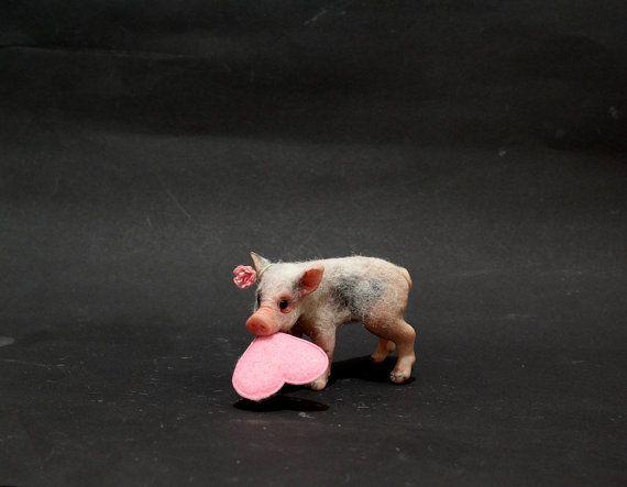 OOAK Miniature Valentine Pig Piglet by Malga by malga1605 on Etsy