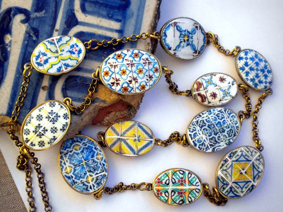Portugal  Antique Tile Replicas NECKLACE 11 Azulejos from by Atrio,