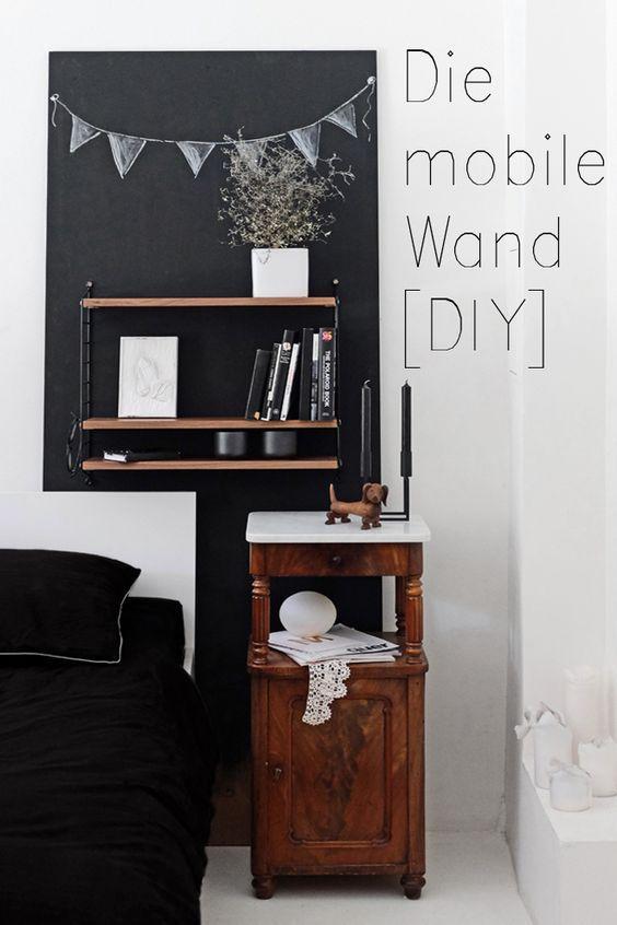 Ein Regal das von Raum zu Raum mitwandert - die Wanderwand zum selber machen I flexible Lösung statt fest an der Wand I DIY Upcycling Holzplatte Türblatt I Regalwand Tafelfarbe Dekoration