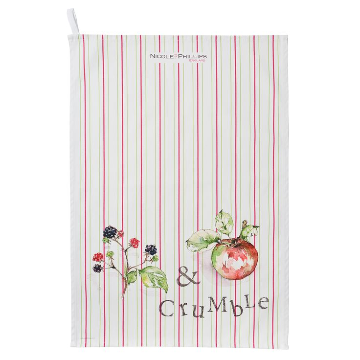 Nicole Phillips England artisan Blackberry and Apple Crumble Tea Towel. Nicole Phillips designs and makes beautiful fine textile ranges that add accents of creativity and colour for your home and kitchen. Designed and made in England to the highest print and quality standards.  http://www.nicolephillips.com/collections/tea-towels/products/blackberry-and-apple-crumble-tea-towel #puddings #baking