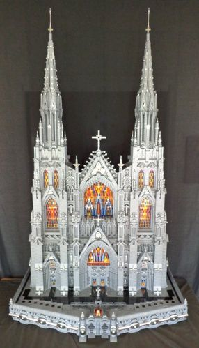 """Neogothic"", an amazing custom-designed Gothic cathedral. LEGO Model by Pierre Lécuyer."
