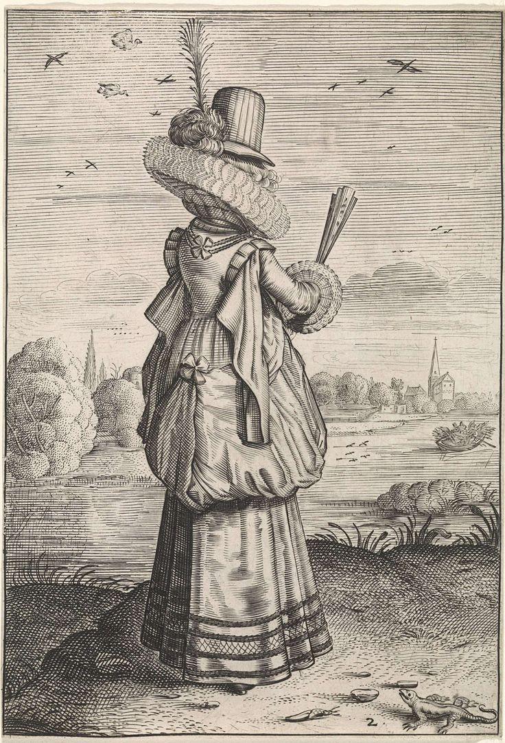 Elegante dame bij hagedis   Dirck Hals, Jacob Matham, 1619 - 1623, engraving   Rijksmuseum, Amsterdam