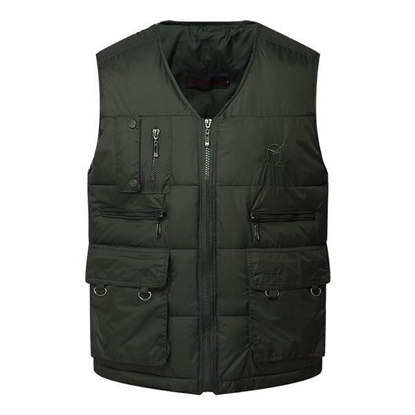Gihuo Mens Winter Thick Fleeced Multi-Pocket Outdoor Hooded Travel Vest