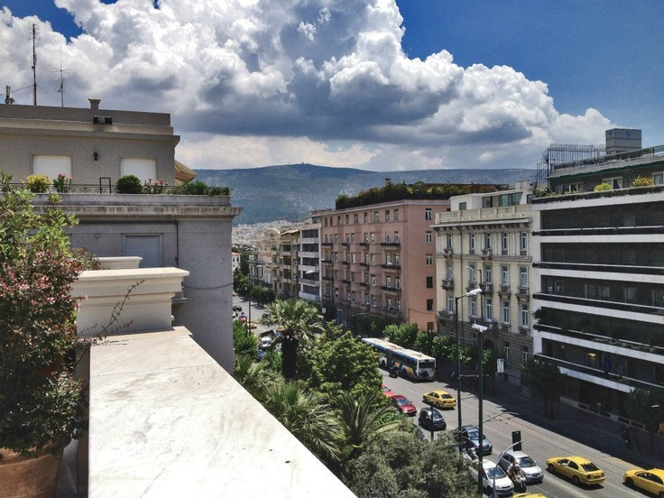 VISIT GREECE| View of Vas. Sofias Av. from the roof cafe, Benaki Museum (Main Building), Vas, Sofias Av., #Athens
