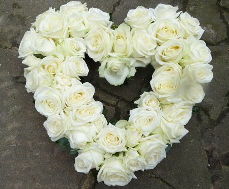 Sympathy flower heart - white roses | Blooms for Business Flowers