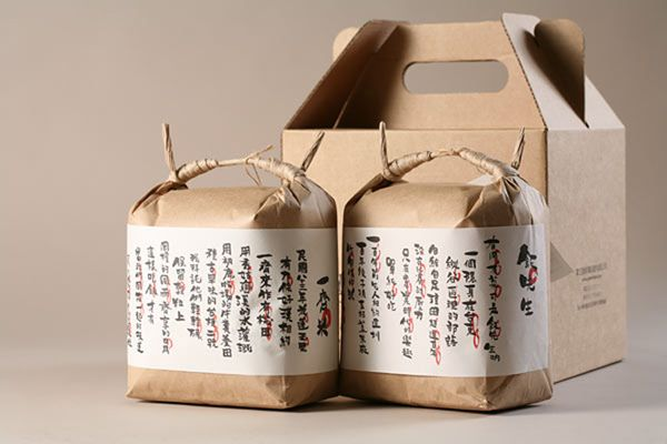 Beautiful chinese rice packaging by the Taiwanese company green in hand