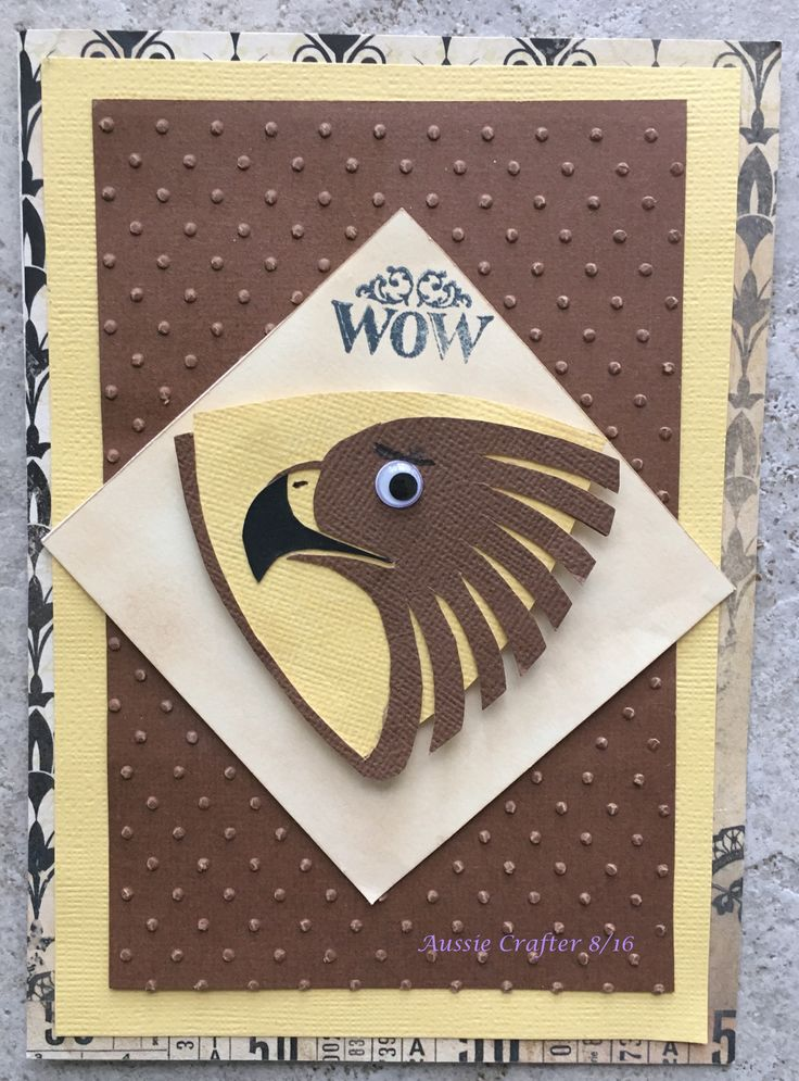 My BIL is a mad Hawthorn fan • I made this card using the Hawk's colours & mascot in the Australian Football League (AFL) for his 2016 birthday. For some reason the gold looks yellow in the photos.