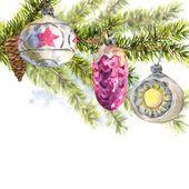 Рождественская акварельная карта с веточкой елей — стоковое фото #60038091