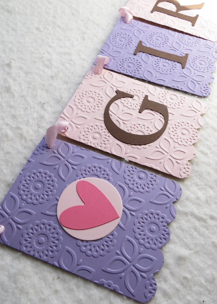 It's a Girl Banner Baby Shower Garland - Embossed Flowers - READY TO SHIP - Baby Girl Shower Decoration. $20.00, via Etsy.