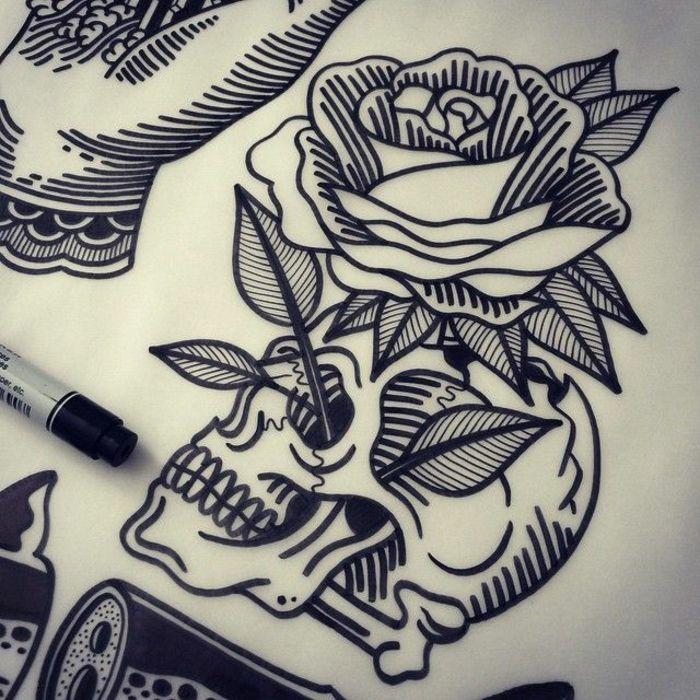 Excellent tatouage idée homme tatouage homme bras tatouage discret homme tatou crane et rose
