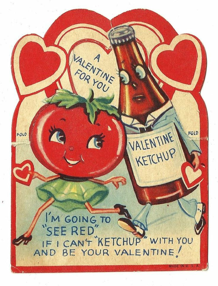 ANTHROPOMORPHIC TOMATO AND KETCHUP BOTTLE- I'LL SEE RED / VINTAGE VALENTINE CARD