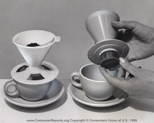 One-cup coffeemakers, 1965  In France and Italy, the one-cup coffeemaker is an old standby. The Coffee-Cone, left, and the Brew-a-Cup may emulate the design, but our tests show that with either one, you aren't likely to get a really hot cup of rich-flavored coffee.