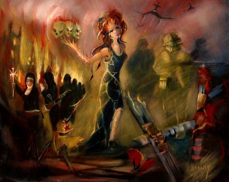 WW2 GOTH NUNS BARBAROSSA WEHRMACHT SKULL EASTERN FRONT OIL PAINTING BLACKSUN13R #goth