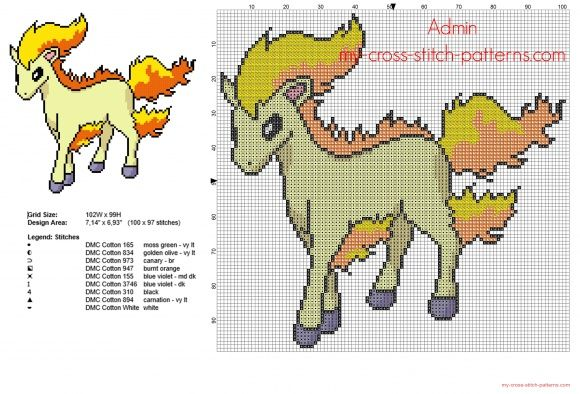 Ponyta Pokemon number 077 first generation free cross stitch pattern (click to view)