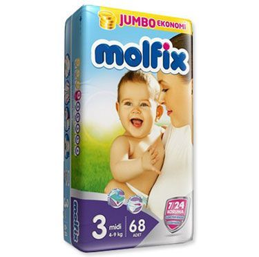 Molfix 7/24 Jumbo Midi Bebek Bezi 4-9 Kg 68 Adet