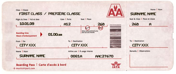 A printable or emailable  - fake plane ticket template
